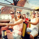 Friends on Tour Bus