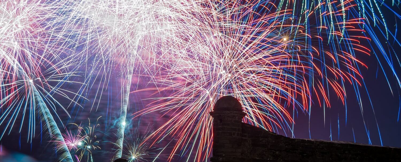 fireworks over castillo de san marcos