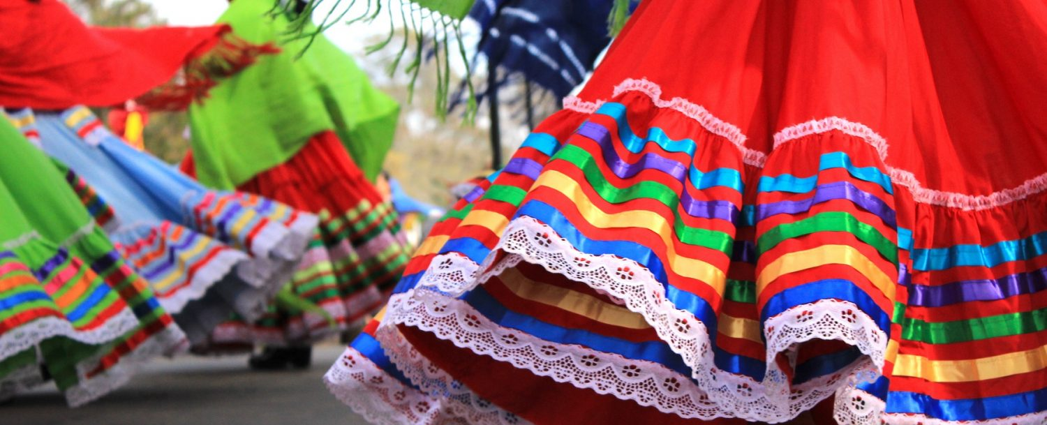 Colorful skirts fly during traditional Mexican dancing