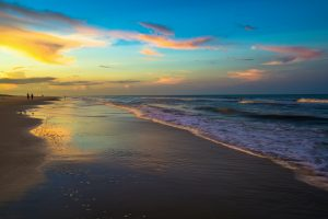 Colorful sunset along Saint Augustine Beach in Florida.
